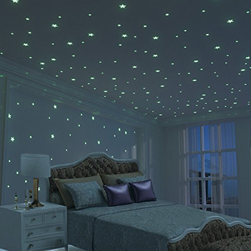 Glow Star Kid Bedroom Wall Stickers - 225 PCS Brightest & Biggest Stars (10.5cm ) Glow in the Dark - DIY Room Decoration for Boy Girl - Baby House Indoor Wall Art - Decor Idea - Baby Shower Gift Set