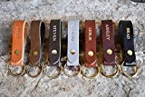 Custom Leather Keychain. Personalized Keychain. Monogrammed Full Grain Leather key chain. Free Shipping. Handmade in USA. Gold and Silver Foil Available. Personalized Leather Keychain.