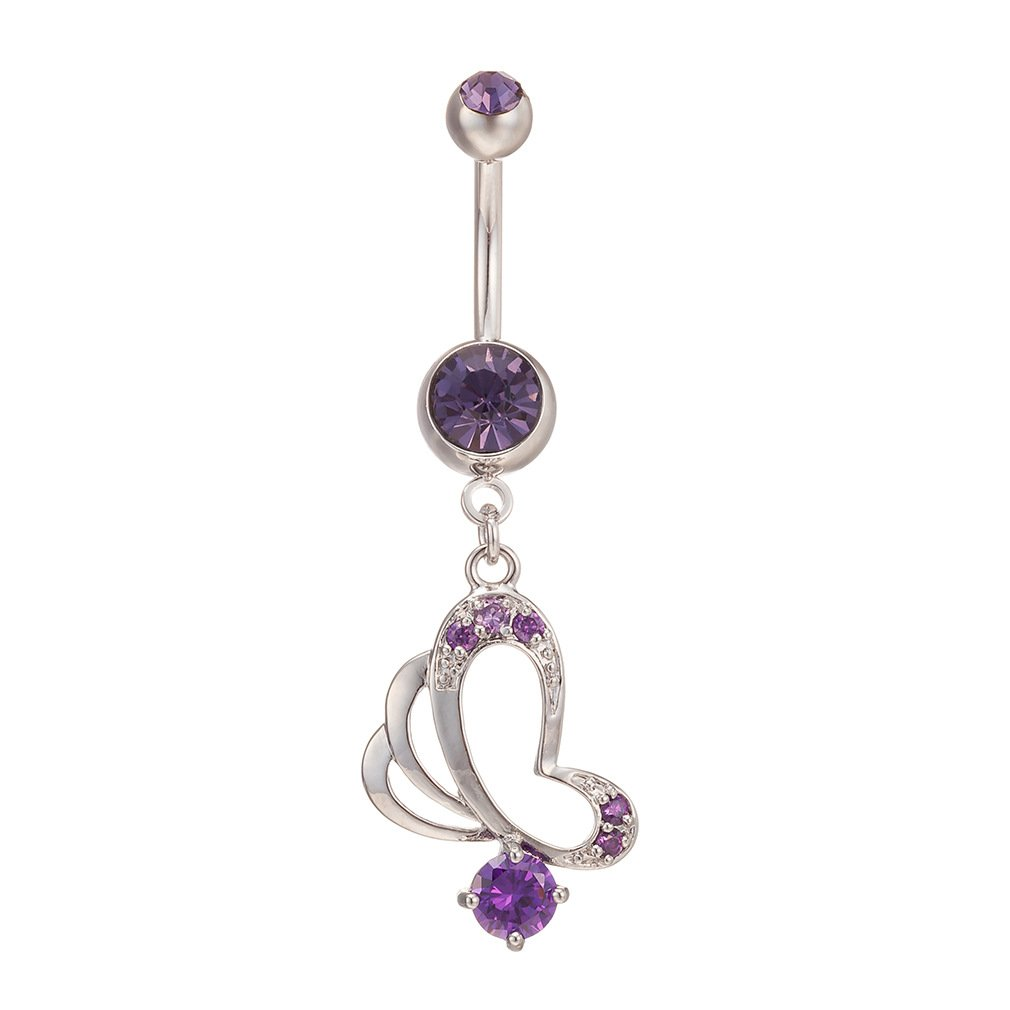Fashion Women Body Piercing Jewelry 14G Hypoallergenic Stainless Steel Cubic Zirconia Belly Button Ring Navel Rings Double Heart Dangle With Mini 'S - /8'' Diamond Amethyst