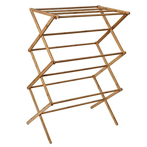 WELLAND Bamboo Folding Clothes Drying Rack- Dry Laundry and Hang Clothes Storage