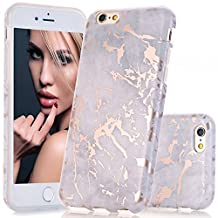 iPhone 6 6s Case, Rose Gold Gray Marble Design Case, BAISRKE Slim Flexible Matte Soft TPU Bumper Shockproof Rubber Silicone Skin Cover Case for Apple iPhone 6 6s 4.7 inch