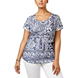Style & Co.. Womens Plus Embellished Printed Casual Top Blue 1X