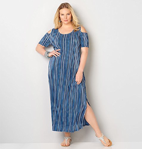 AVENUE-Womens-Striped-Bodre-Maxi-Dress
