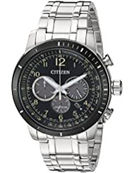 Citizen Mens Chronograph Quartz Stainless Steel Casual Watch, Color:Silver-Toned (Model: CA4358-58E)