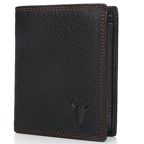 Itslife Men's Genuine Leather Wallet Black Short Vertical Card Cases - Genuine Boys Shorts