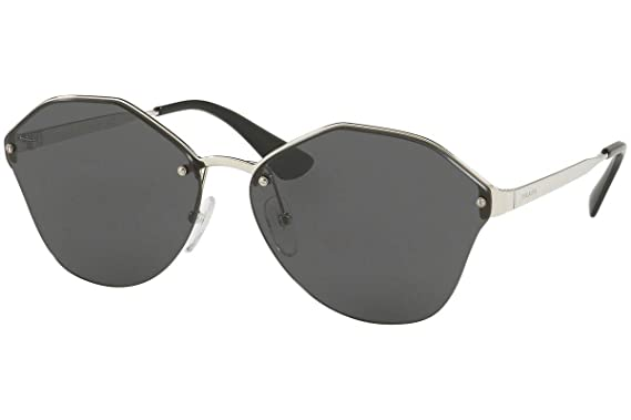 188f08b8abb3b Amazon.com: Prada PR64TS Sunglasses Silver w/Dark Grey 66mm Lens ...
