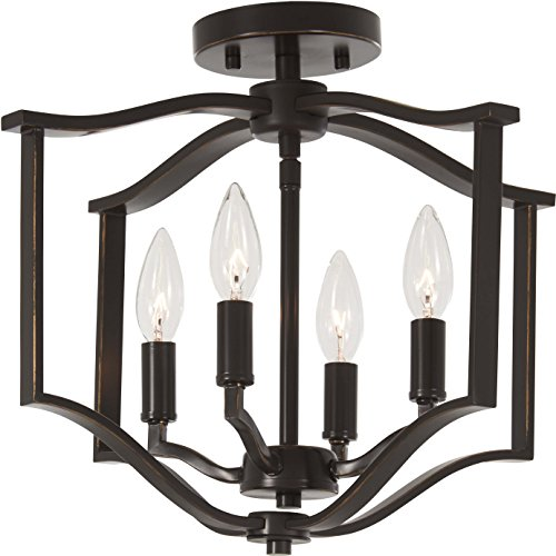 Minka Lavery Semi Flush Mount Ceiling Light 4656-579 Elyton Lighting Fixture, 4-Light 240 Watts, Downton Bronze