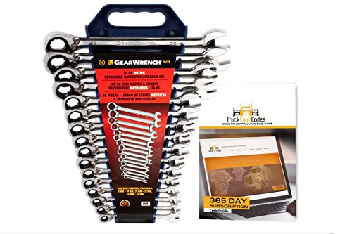 GearWrench 9602 Metric 16-Piece Reversible Combination Ratcheting Wrench Set Bundle with TruckFaultCodes by Diesel Laptops ()
