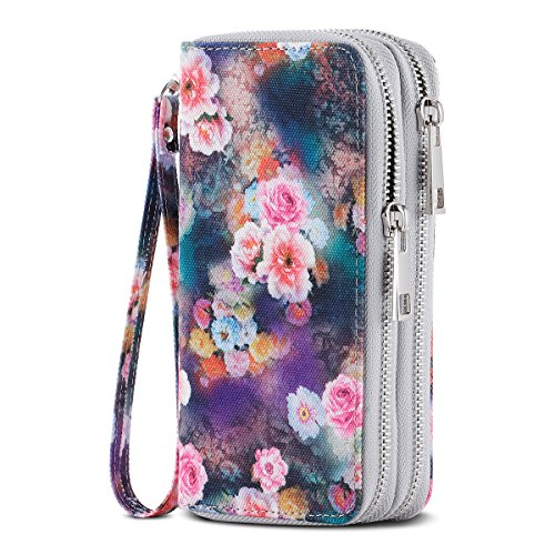 HAWEE Cellphone Wallet Dual Zipper Wristlet Purse with Credit Card Case/Coin Pouch/Smart Phone Pocket Soft Leather for Women or Lady, Honor Peony