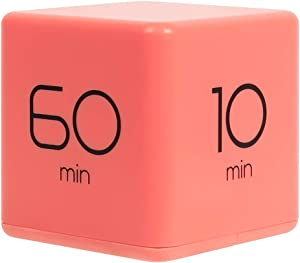 mooas Cube Timer 10, 30, 50 and 60 Minutes Time Management (Coral), Kitchen Timer, Kids Timer, Workout Timer