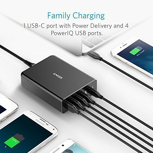 Anker USB Type-C PD Charger, Premium 5-Port 60W Wall Charger with One 30W Power Delivery PowerPort+ USB-C for MacBook, iPhone X /8/8 Plus, Nexus 5X / 6P, PowerIQ for iPhone, iPad, Samsung, and More by Anker (Image #4)