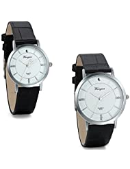 JewelryWe 2PCS His and Hers Watches Set with Black Leather Bands for Couple Men Women Anniversary Gift