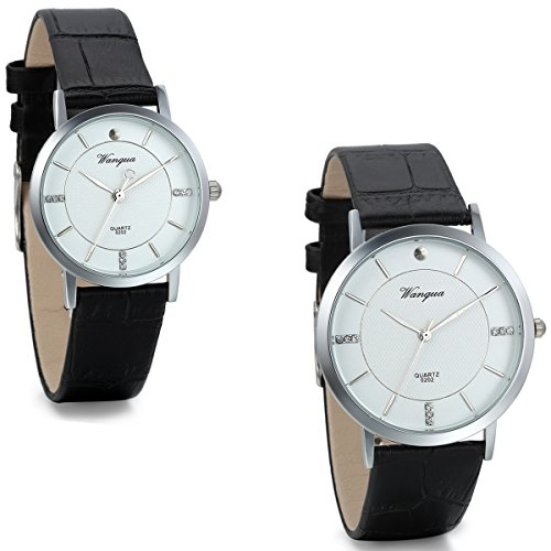 JewelryWe 2PCS His and Hers Watches Set with Black Leather Bands for Couple Men Women Anniversary Gift by Jewelrywe