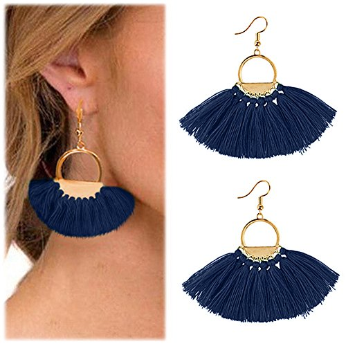 Suyi Women Tassel Earrings Bohemia Fan Shape Thread Tassel Statement Drop Dangle Earrings for Girl Lady Dark Blue (Fan Shape Earrings)