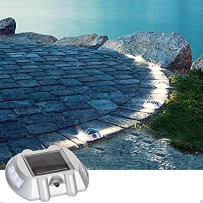 Solar Powered LED Marker Lights- Decorative Aluminum Lamps- Wireless Outdoor Security Light- Garden Decor Accent Lighting- Best for Driveway, Dock, Stairway, Path, Deck, Step, Pool, Patio