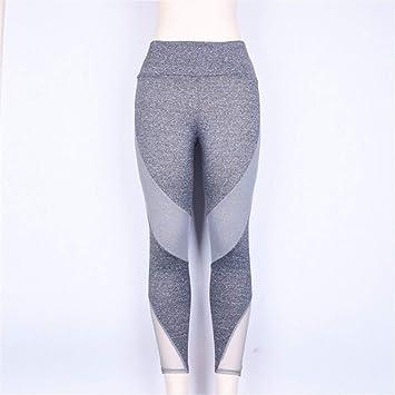 BLXMX Pantalones De Yoga Malla Patchwork Yoga Pantalones ...