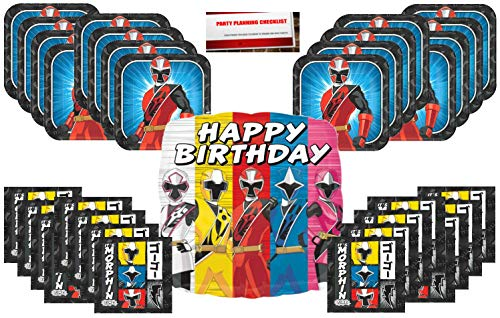 Rangers Power Plates - Power Rangers Ninja Steel Its Morphin Time Birthday Party Supplies Bundle Pack for 16 Plus 17 Balloon