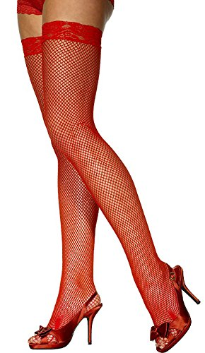 (Shirley of Hollywood Fishnet Thigh High Stockings With Lace Top 90015, Red, OS)