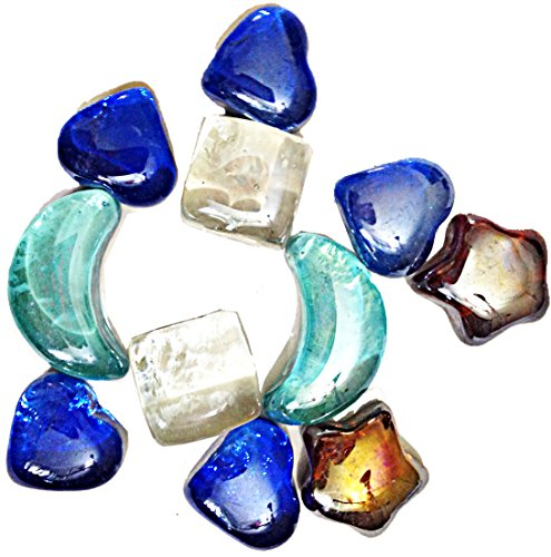 Decorative Heart Moon Stars Shaped Glass Colored Stones Gemstones ()
