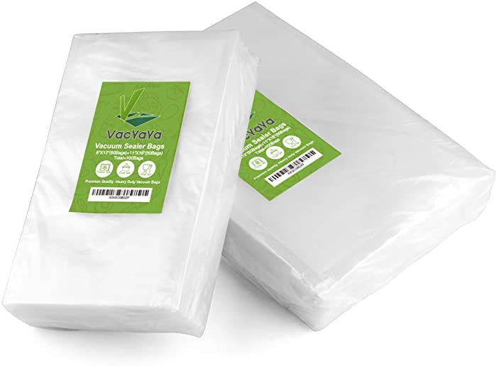 "Upgrade!!VacYaYa 100 Count Vacuum Sealer Bags 50 Each Size Quart 8"" x 12"" and Gallon 11"" x 16"" for Food Saver, Seal a Meal Vac Sealers, Sous Vide Cooking Vaccume Safe, Pre-Cut Storage Bag"