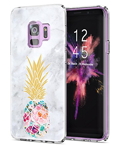 DOUJIAZ Galaxy S9 Case, Flower Pineapple & Marble Design Clear Bumper TPU Soft Case Rubber Silicone Skin Cover for Samsung Galaxy S9 (2018) ()