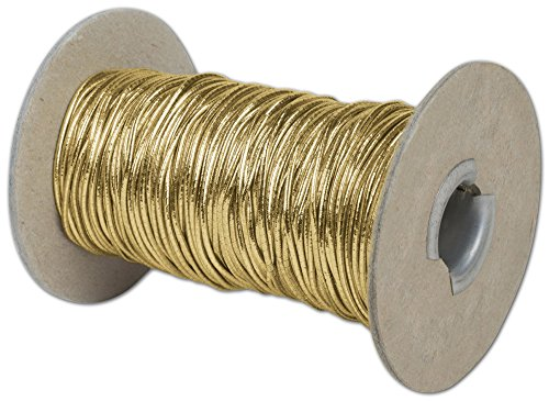 Ribbons Solid Color - Gold Stretch Cord on Spool, 50 Yds (1 Roll) - BOWS-253-50-15 by Miller Supply Inc