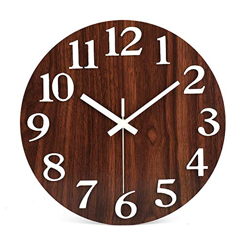 jomparis 12'' Night Light Function Wooden Round Wall Clock Large 3D Numbers Glow in The Dark-Battery Operated Wooden Decorative Wall Clock