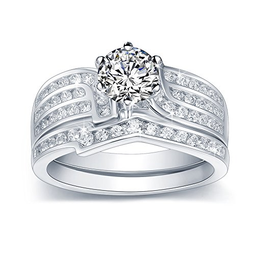 Women's Gift Bridal Set 1.2ct White Round Cubic Zirconia 925 Sterling Silver Wedding Engagement Ring Sets Size 5-10