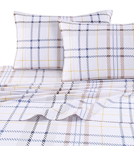 Tribeca Living MODPL170DPSSFU Modern Plaid 5-Ounce Flannel Printed Extra Deep Pocket Sheet Set Full Multi,