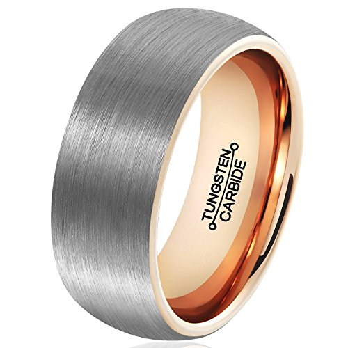 MNH Mens 8mm Tungsten Carbide Wedding Band Rose Gold Plated Brushed Matte Finish Ring Size 95