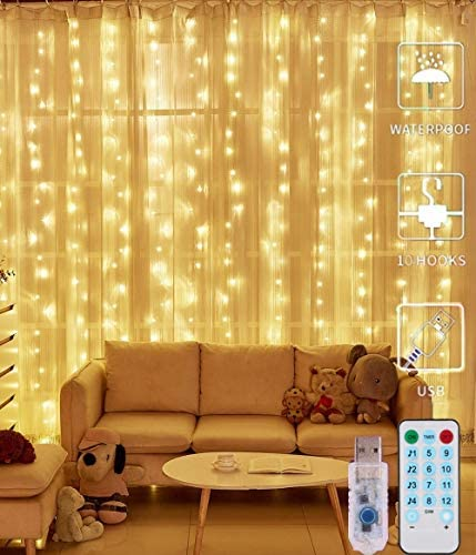 U-Kiss Luci per Tende a LED, 300 LED Catena Luminosa con Luce Calda, 12 modalità, Impermeabile IP65 per Matrimonio, Natale, Festa, Decorazioni murali per Interni All'aperto (3x3m) (Bianco Caldo-1)
