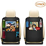 Car Backseat Organizers - Car Seat Protector for Kids (2 Pack). Back Seat Kick Mat to Protect Your Carseats from Shoe Marks and Damage. Storage Pockets for iPad and Tablet Holder