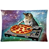 Custom Classic POP Space Cats And Pizza Pillowcase Rectangle Zippered Two Sides Design Printed 20x30 pillows Throw Pillow Cover