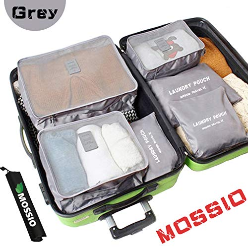 Luggage Organizer,Mossio 7 Piece Suitcase Portable Storage Packing Case Grey (Best Travel Cubes For Backpacking)