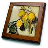 """3dRose Branch of Lemons Claude Monet Painting Cropped Dated 1883, Pd-Us Framed Tile, 8 by 8"""""""