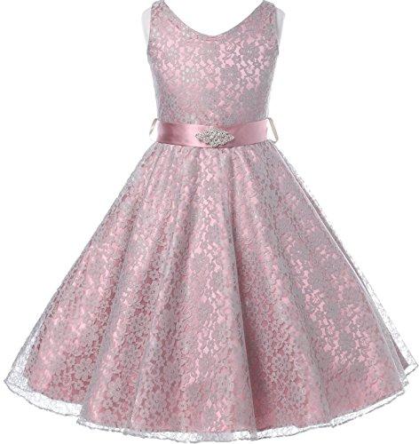 - Little Girls Lace Floral Pattern Satin Sash Flowers Girls Dresses Rose 4