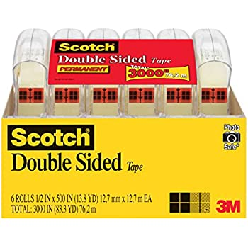 Scotch Brand Double Sided Tape, Long-Lasting, Photo-Safe, No Liner, Engineered for Bonding, Narrow Width, 1/2 x 500 Inches, 6 Dispensers/Pack (6137H-2PC-MP)
