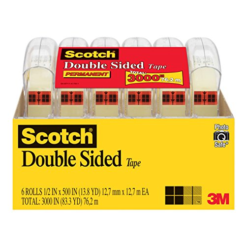 Two Sided Coated Paper - Scotch Brand Double Sided Tape, No Liner, Strong, Engineered for Office and Home Use, 1/2 x 500 Inches, 6 Dispensered Rolls (6137H-2PC-MP)