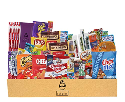 Everyday Care Package (50 Count + 1 Bonus Snack) Snack Box - An Assortment of Chips, Crackers, Candy, Cookies, Bars for Military, Students, Office, and More! (Care Basket)