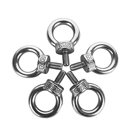 Eowpower 5Pcs M6 Male Thread Machinery Shoulder Lifting Ring Eye Bolt