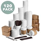 JUMBO Set of 120 Paper Coffee Hot Cups with Travel Lids, Sleeves, and Stirrers Disposable Coffee Cups - 12OZ WHITE Hot Cups To Go Travel Mug Office/Party Pack Tea & Chocolate