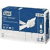 Tork 120289 Xpress Essuie-mains interfoliés Advanced pliés en Z / Compatible avec le système Tork H2 Multifold / 2 plis / 21 x 180 feuilles (25.5 x 21.2 cm) - Blanc