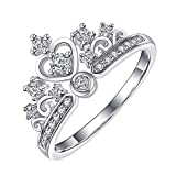 White Gold Plated Simple Princess Crown with Cubic Zircon Crystal Wedding Engagement Ring Fashion Jewelry (6)