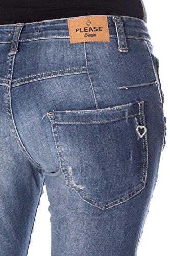 Please P08 Boyfriend Denim Donna Jeans P08rbq2dh0 Baggy Strappato OrESAOwxq