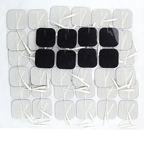 "Syrtenty 2"" Square TENS Unit Electrodes 2x2 - 44 Pack Electrode Pads for TENS Massage EMS - 100% Satisfaction Guarantee"