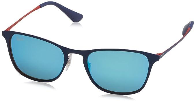 RAYBAN JUNIOR Unisex-Kinder Sonnenbrille RJ9539S, Blau (Rubber Blue/Red/Flashbluee), 48