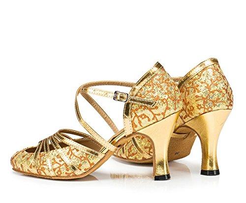 Minitoo QJ6133–Zapatos de bailes latinos para mujer, dedos cerrados, piel sintética, con purpurina, tacón alto, correa en T Floral Gold-6cm Heel