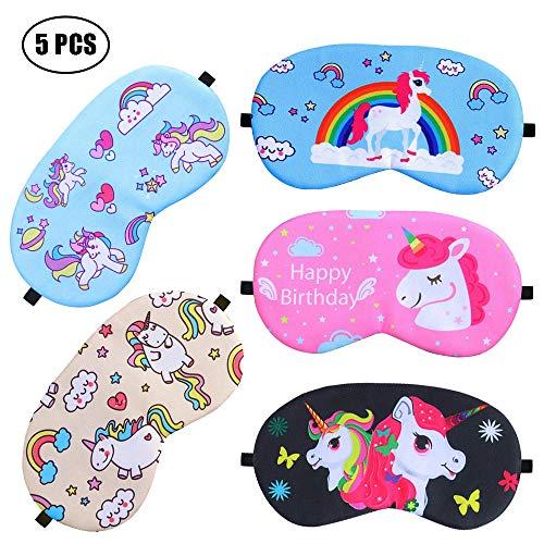 ATROPOS 5 PCS Unicorn Sleep Eye Masks- Cute Soft Eye Mask Cover for Girls unicorn slumber birthday party -