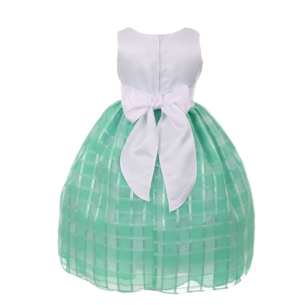 7a4a6e218c1 Amazon.com  Little Girls Mint Square Pattern Brooch Accented Flower Girl  Dress 2-6  Clothing