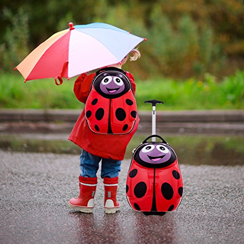 Goplus 2Pc 13'' 19'' Kids Carry On Luggage Set Travel Trolley Suitcase (Ladybug) by Goplus (Image #1)